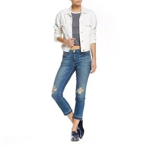 CURRENT/ELLIOTT Cropped Straight Distressed Jeans